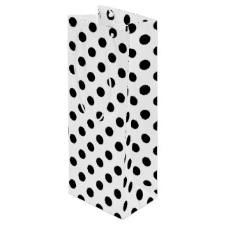 Black Polka Dots on White Background Wine Gift Bag