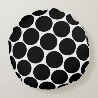Black Polka Dots Pattern Round Cushion