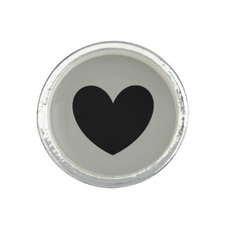 Black polka hearts on Pussywillow Gray Ring