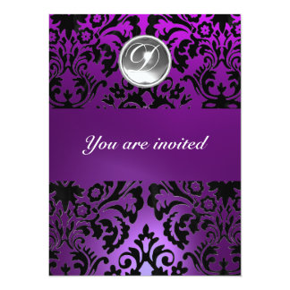 BLACK & PURPLE DAMASK GEM STONE MONOGRAM  ice 14 Cm X 19 Cm Invitation Card