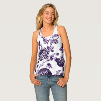 Black Purple Floral Toile Women's Tank Top