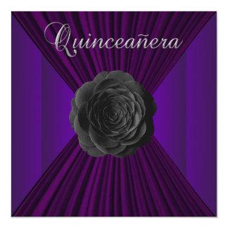 "Black Purple Rose Quinceanera Invitations 5.25"" Square Invitation Card"