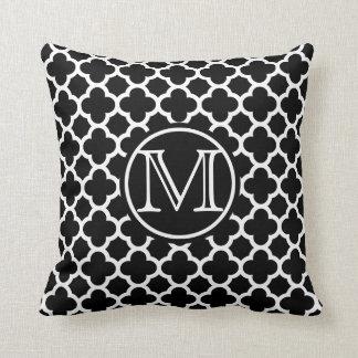 Black Quatrefoil Monogram Throw Pillow