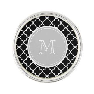 Black Quatrefoil Pattern, Grey Monogram Lapel Pin