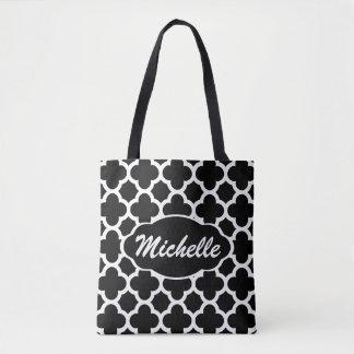 Black Quatrefoil Personalized Tote Bag