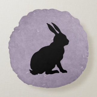 Black Rabbit Silhouette Easter Bunny Round Cushion