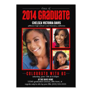 """Black Red Class of 2014 Graduate Photo Invite 5"""" X 7"""" Invitation Card"""