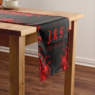 Black & Red Floral 16 x 90 Table Runners