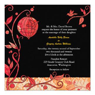 "Black + Red Love Birds Fall Wedding Invitations 5.25"" Square Invitation Card"