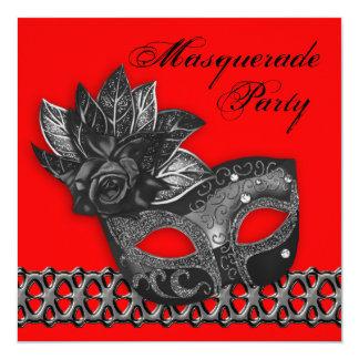 Black Red Masquerade Party Invitations