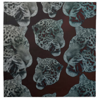 Black Red Psychedelic Leopard Heads Napkin