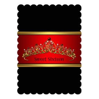 Black Red Tiara Sweet Sixteen Party Invitation
