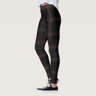 Black Red White Large Tartan Plaid Leggings