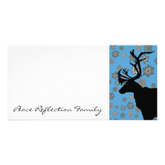Black Reindeer with Snowflakes Photo Card Template