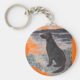 Black Retriever Dog Basic Round Button Key Ring