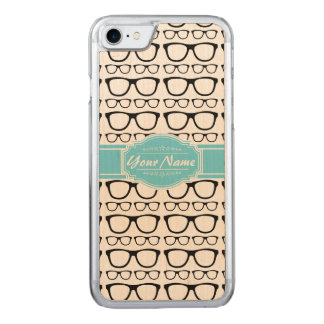 Black Retro Geek Glasses Aqua Name Carved iPhone 8/7 Case