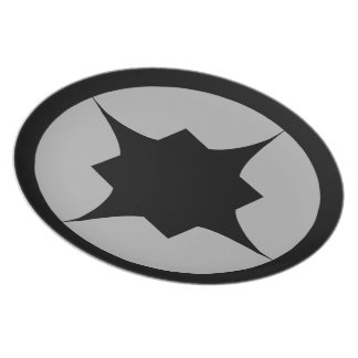 Black Retro Star Snack Plate