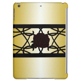 Black Rose Ornate Elegant Golden Goth CricketDiane iPad Air Cover