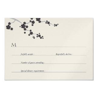 Black Sakura Cherry Blossom Zen Wedding RSVP 3.5x5 Paper Invitation Card