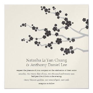 Black Sakura Cherry Blossoms Oriental Zen Wedding  5.25x5.25 Square Paper Invitation Card