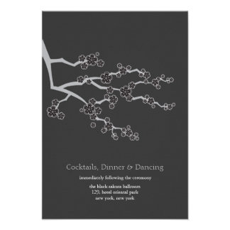 Black Sakura Cherry Blossoms Zen Wedding Reception Announcements