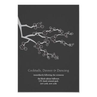 Black Sakura Cherry Blossoms Zen Wedding Reception 3.5x5 Paper Invitation Card