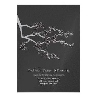 Black Sakura Cherry Blossoms Zen Wedding Reception 5x7 Paper Invitation Card