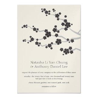 "Black Sakuras Oriental Zen Wedding Invitation 5"" X 7"" Invitation Card"