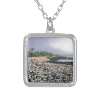 Black Sand Beach in Hawaii Silver Plated Necklace