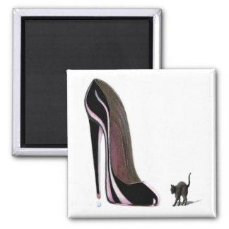Black Scardey Cat and Stiletto Shoe Fridge Magnet