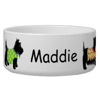 Black Scottie Terrier Dogs Name Personalized Dog Food Bowls