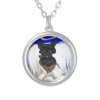 Black Scottish Terrier Angel Silver Plated Necklace