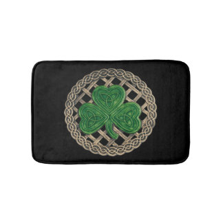 Black Shamrock On Celtic Knots Bath Mat