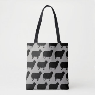 Black Sheep Silhouettes Pattern Tote Bag