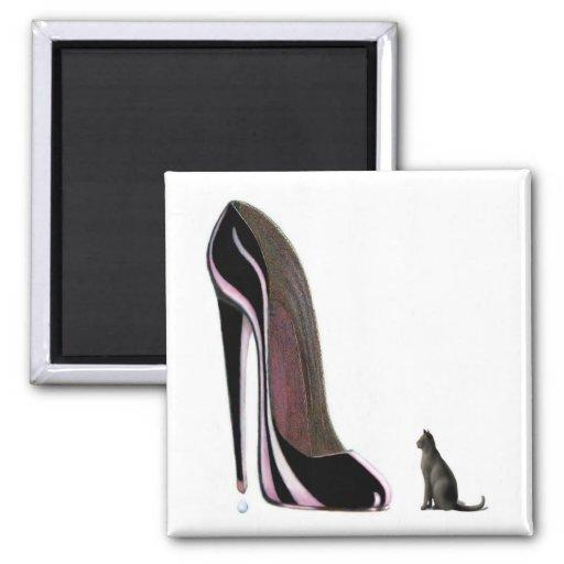 Black shoe and cat worship! refrigerator magnet