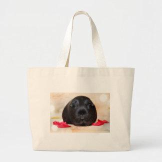 Black Short Haired Romance Guinea Pig Large Tote Bag