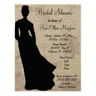 Black Silhouette Bride Beige Floral Background Postcard