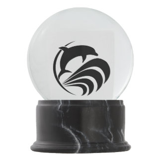 Black Silhouette Dolphin Jumping in Waves Snow Globe