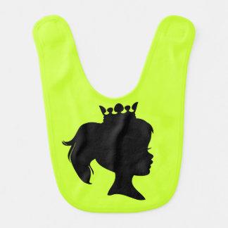 Black Silhouette Princess on Bright Green Bib