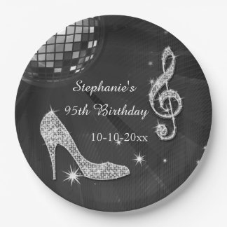 Black/Silver Disco Ball and Heels 95th Birthday 9 Inch Paper Plate