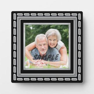 Black Silver Frame Photo Template Plaque