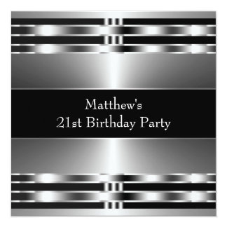 Black Silver Mens Birthday Party 13 Cm X 13 Cm Square Invitation Card