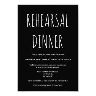 Black simple rehearsal dinner invitations