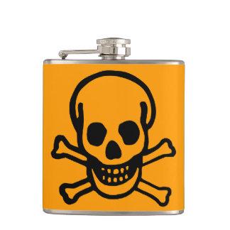 Black Skull Orange Vinyl Wrapped Flask