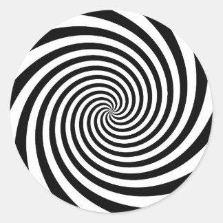 Black Spiral Classic Round Sticker