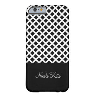 Black square grid Monogram Barely There iPhone 6 Case
