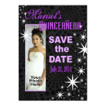 Black Stars Quinceañera Photo Party 13 Cm X 18 Cm Invitation Card