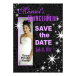 Black Stars Quinceañera Photo Party Personalized Announcements