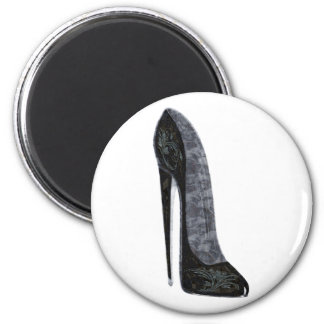 Black Stiletto High Heel Shoe Art Magnet