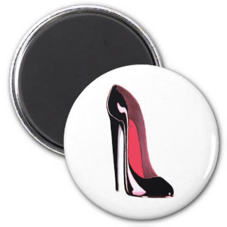 Black Stiletto Shoe 6 Cm Round Magnet